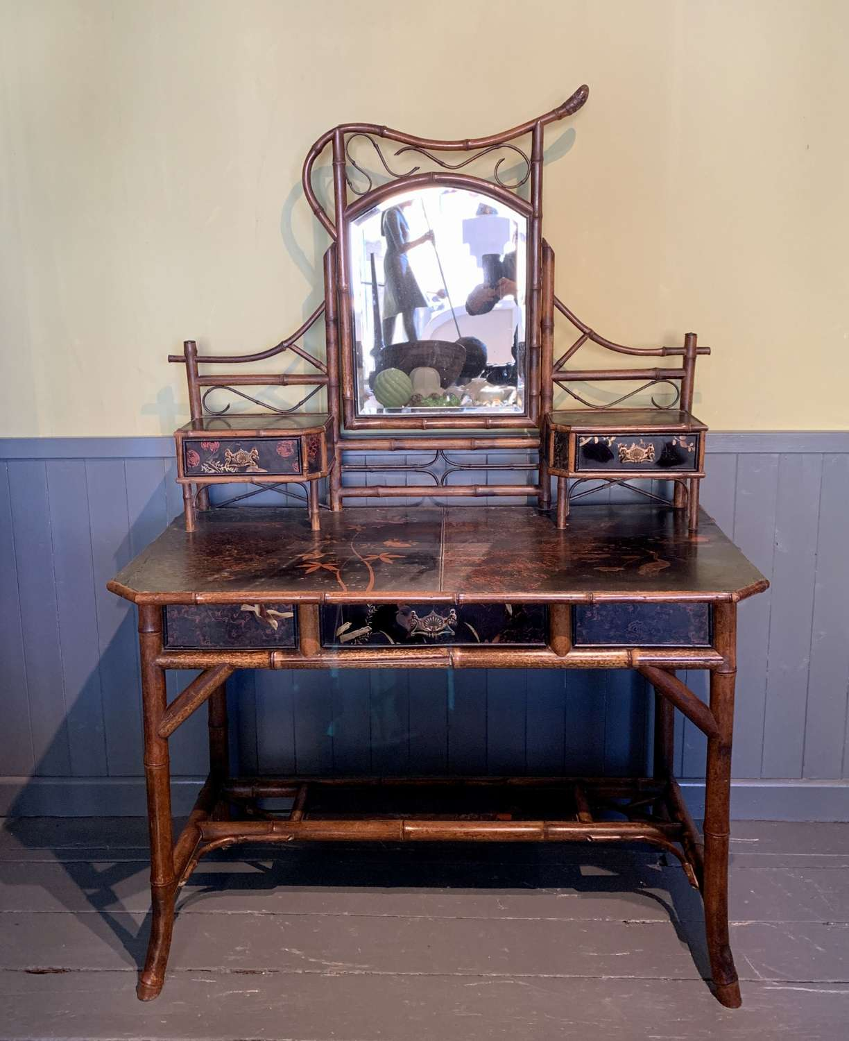 Aesthetic Period Bamboo & Lacquer Dressing Table