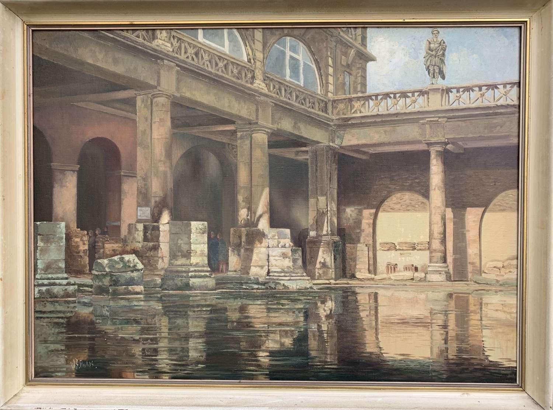 The Roman Baths, Bath, Oil on Canvas signed W.S. Phillips