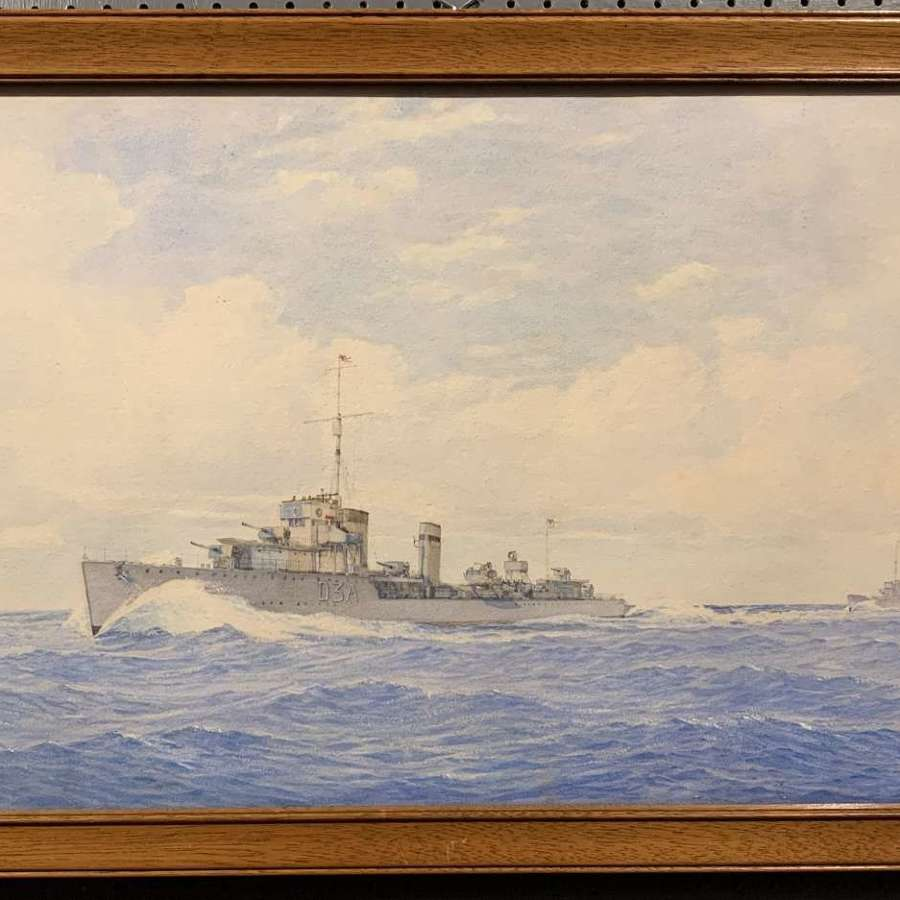 HMS Wallace in Convoy in Baltic Waters, Watercolour by W.A. Richards