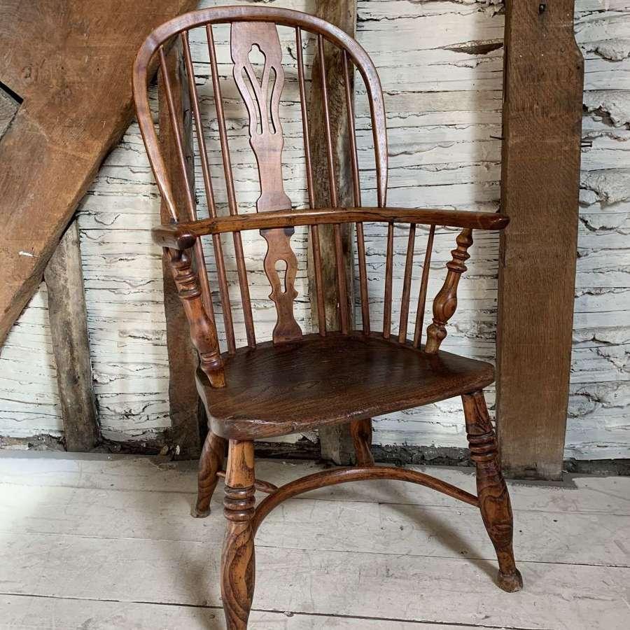 Antique Ash & Elm High-Back Windsor Chair