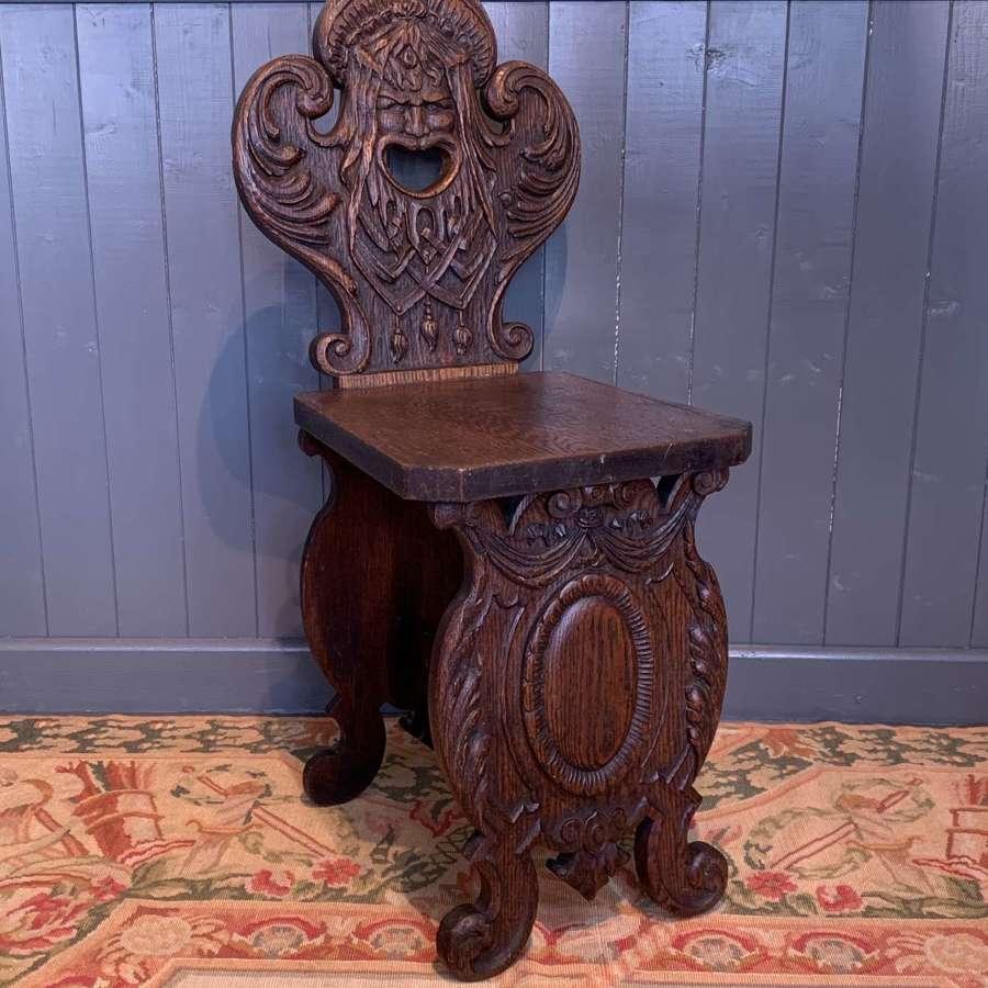 Italian Renaissance Revival Carved Oak Sgabello Chair