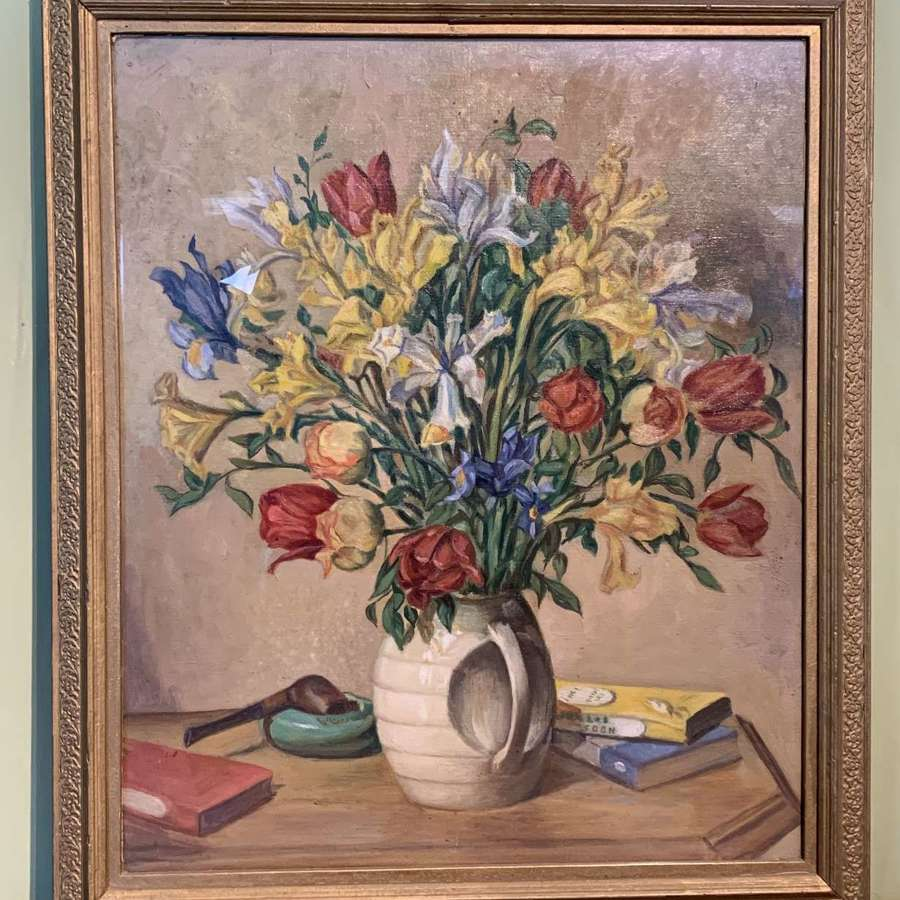 Still Life of Irises and Tulips in an Art Deco Vase, Oil on Canvas