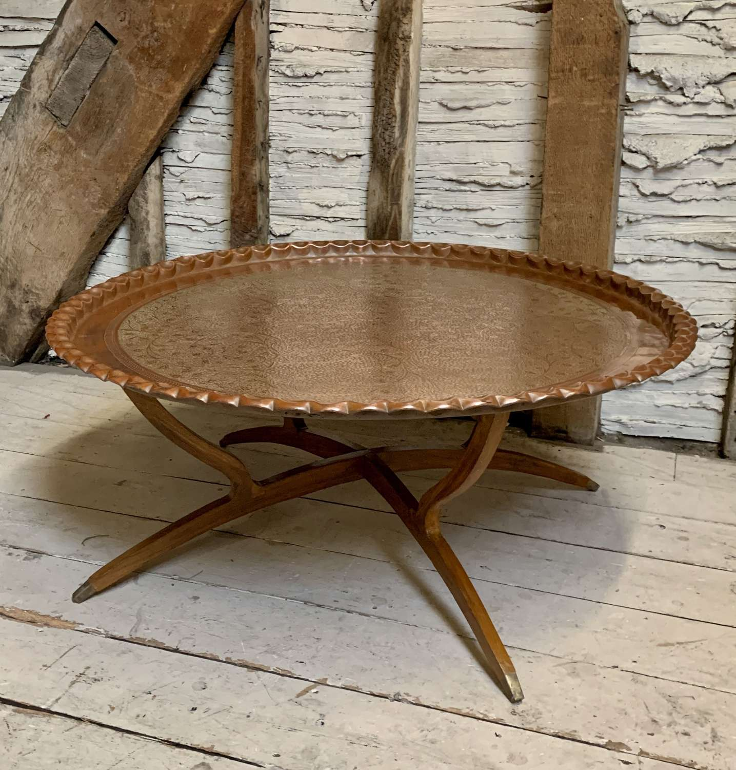 Huge Indo-Persian Engraved Copper Tray Table