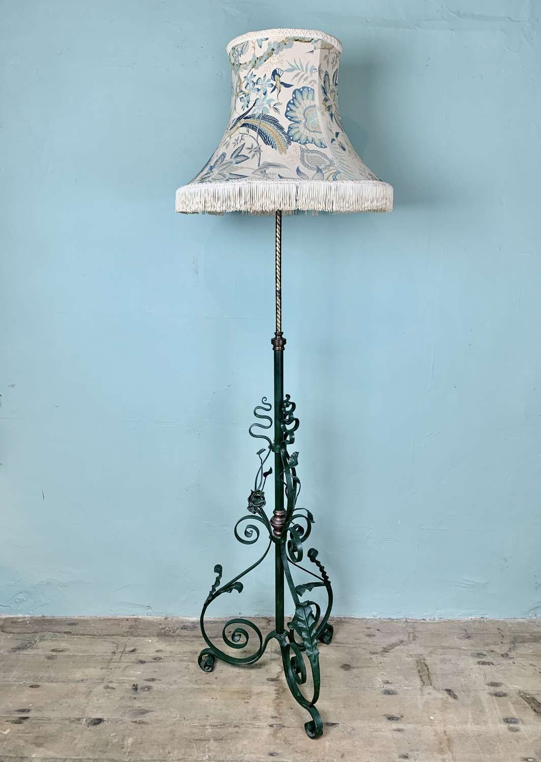 Victorian Painted Wrought Iron & Brass Standard Lamp