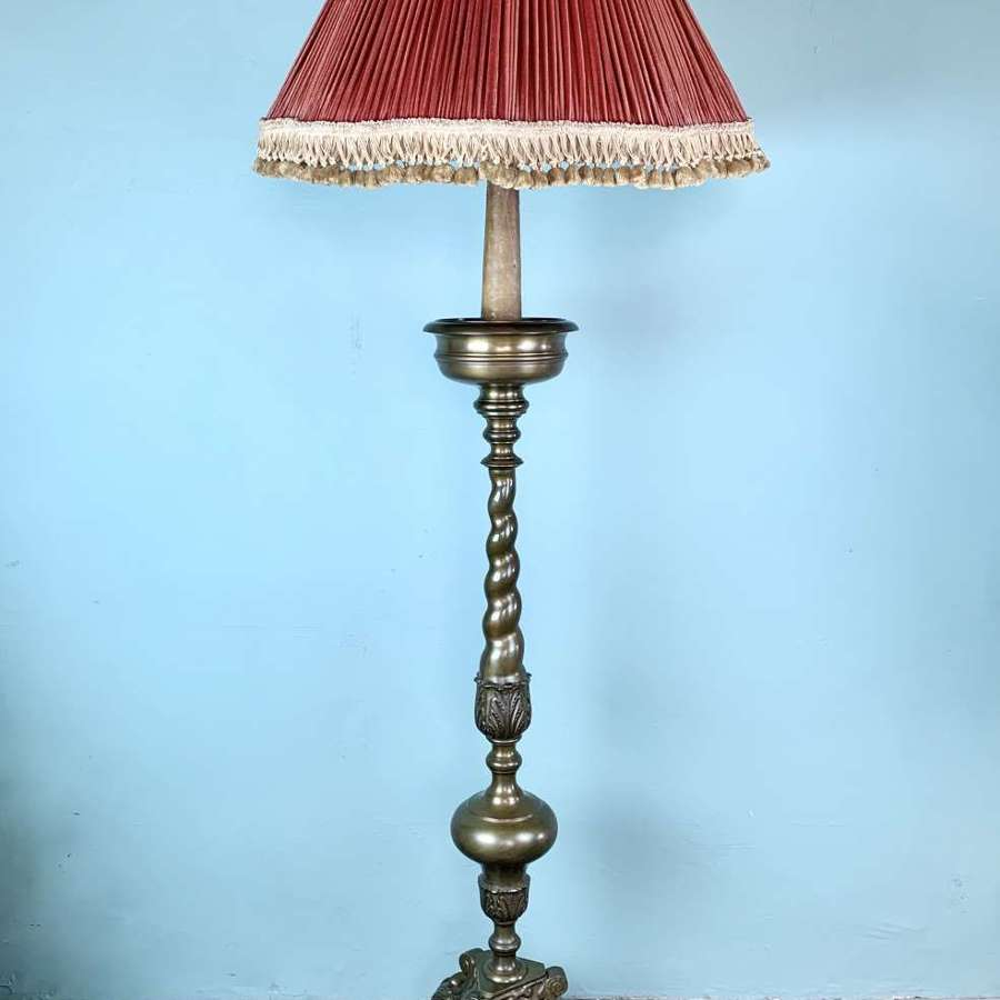 Italian Ecclesiastical Brass Floor Lamp in 17th Century Style