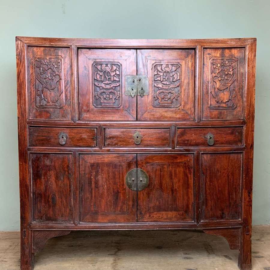 Antique Chinese Carved Elm Wedding Chest