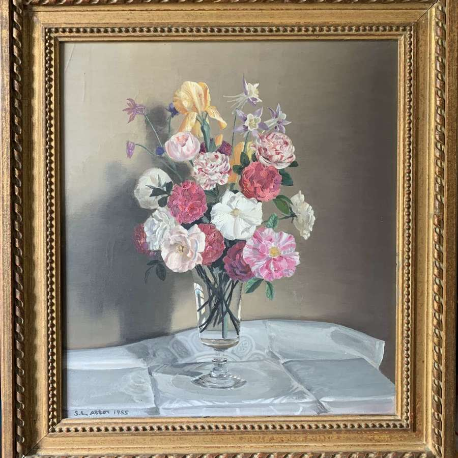S.L. Abbot, Still Life of Flowers in a Glass, Oil on Canvas