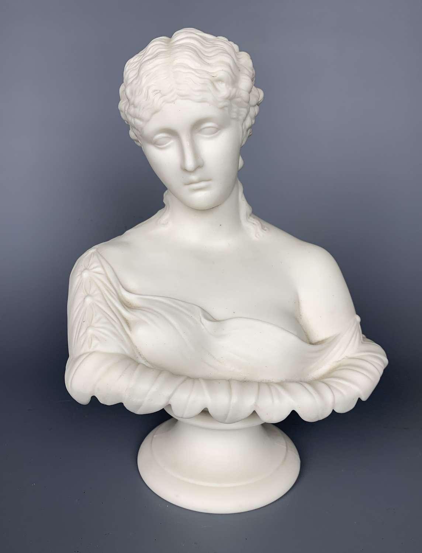 J & T Bevington Parian Bust of Clyte circa 1880