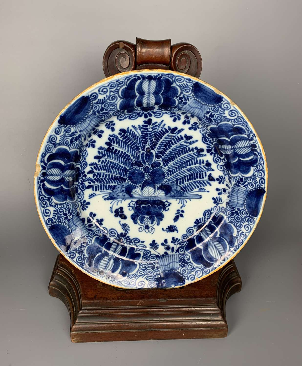 18th Century Delft Blue & White Peacock Charger