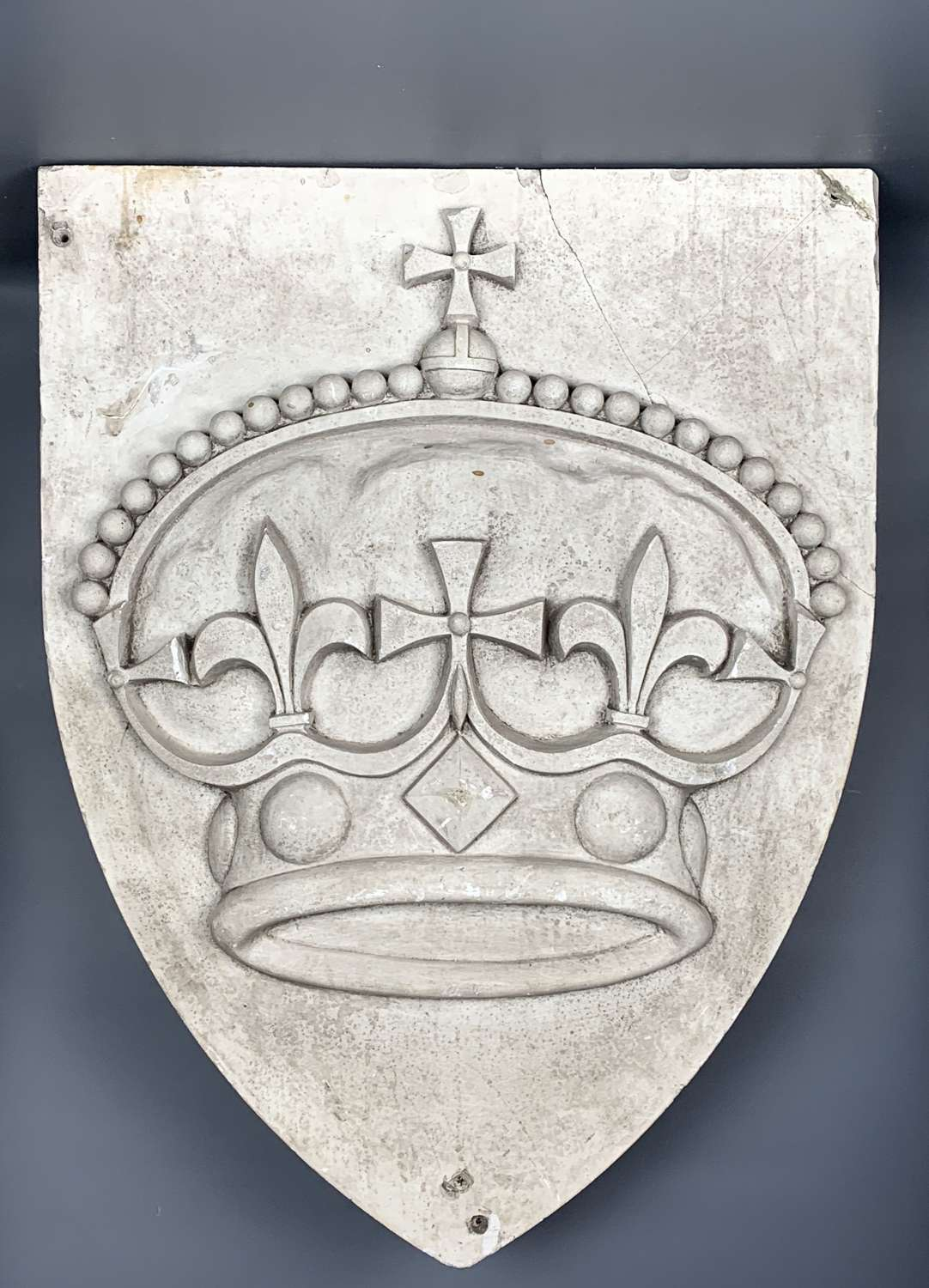 Large Architectural Shield Shaped Plaster Plaque of a Crown