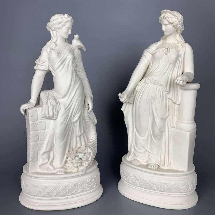 Pair of Victorian James Wilson Parian Figures