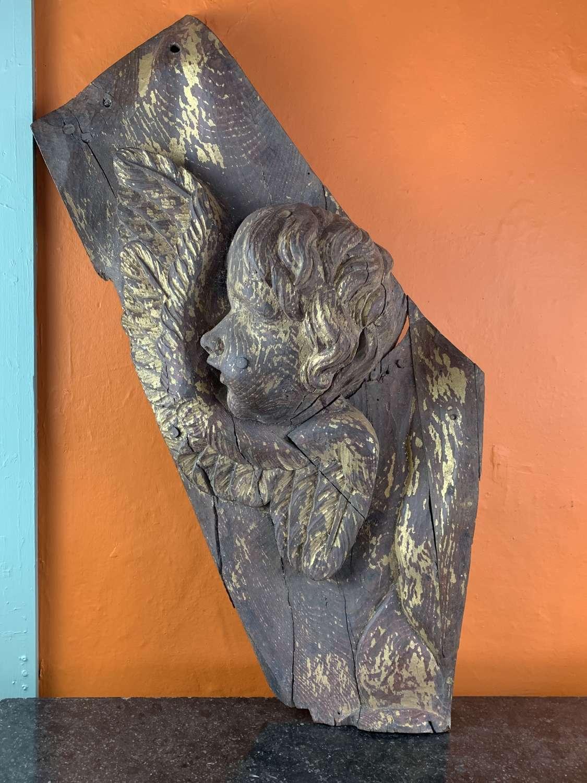 Italian18th Century Baroque Giltwood Carving of a Cherub
