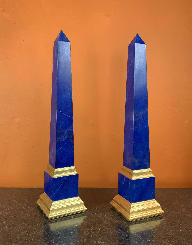 Pair of Faux Lapis Lazuli & Gilt Obelisks