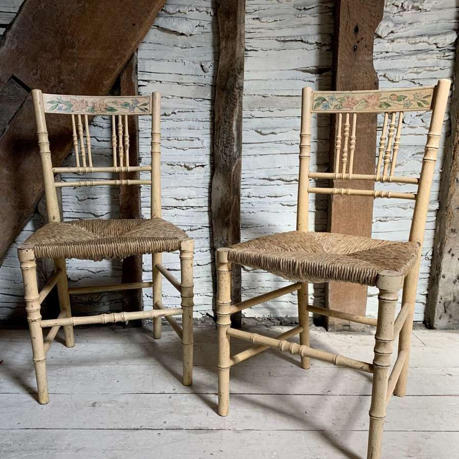 Pair of Regency Painted Faux Bamboo Side Chairs