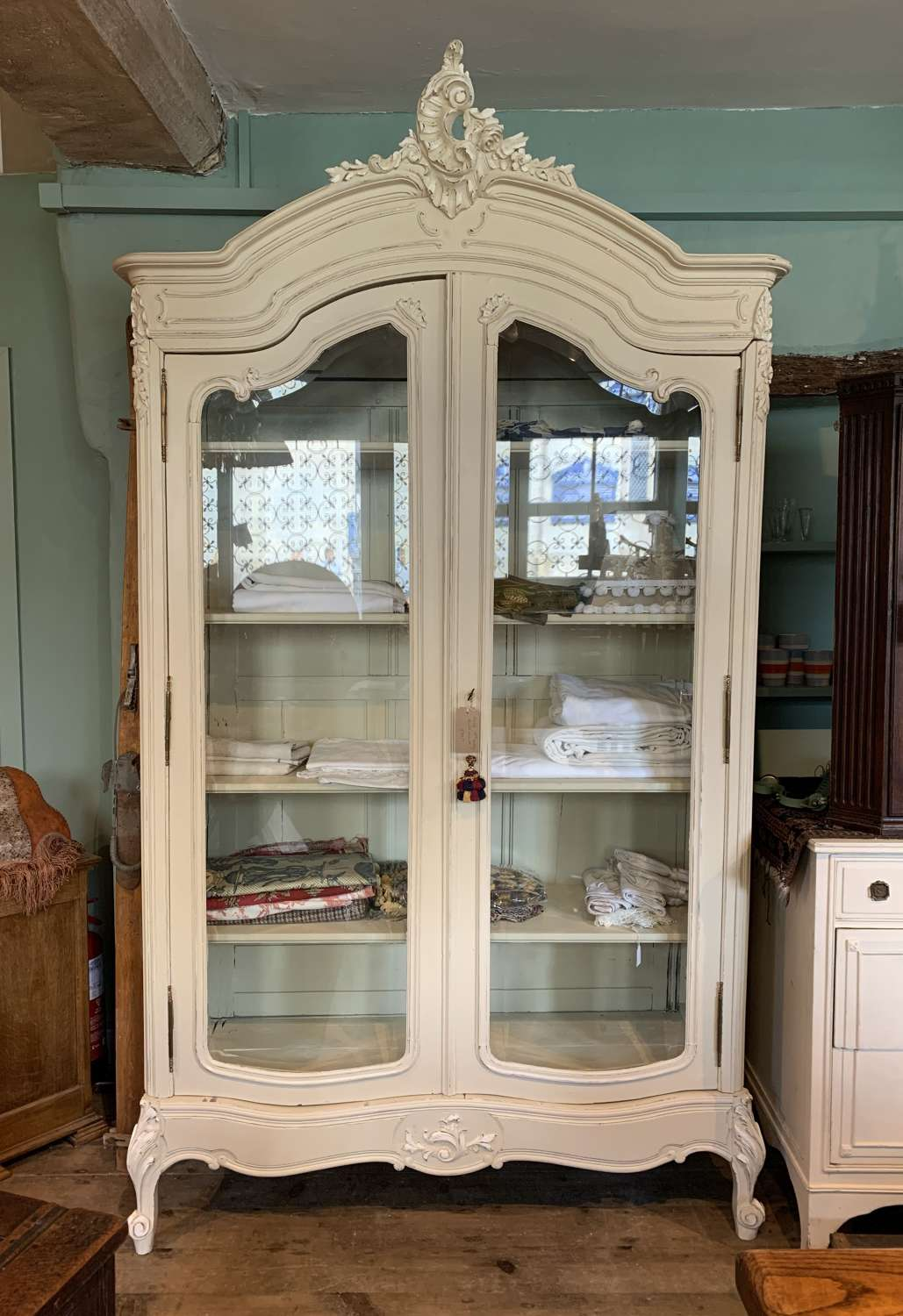 Antique French Painted Vitrine
