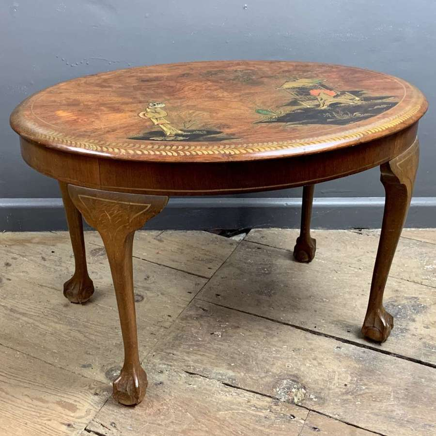 Mahogany Chinoiserie Decorated Oval Coffee Table