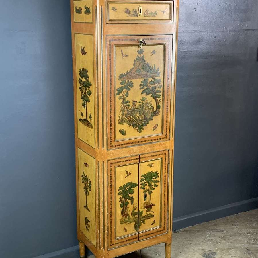 French early 19th Century Lacquered Decoupage Secretaire