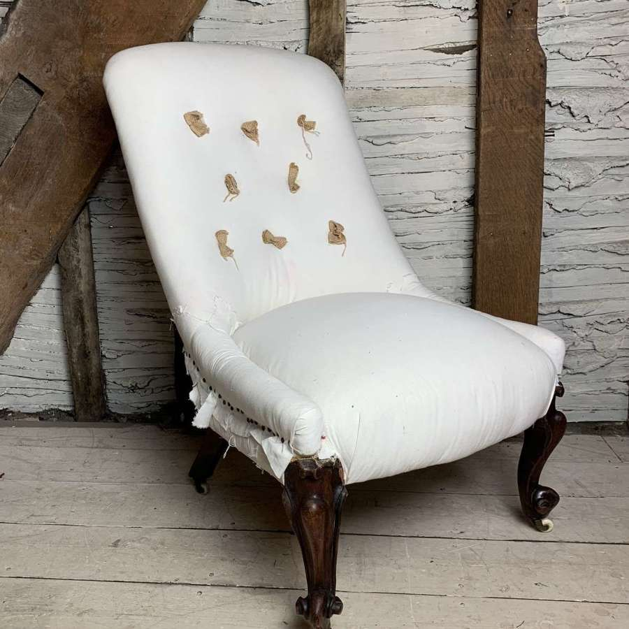 Victorian Button Back Occasional Chair for Recovering