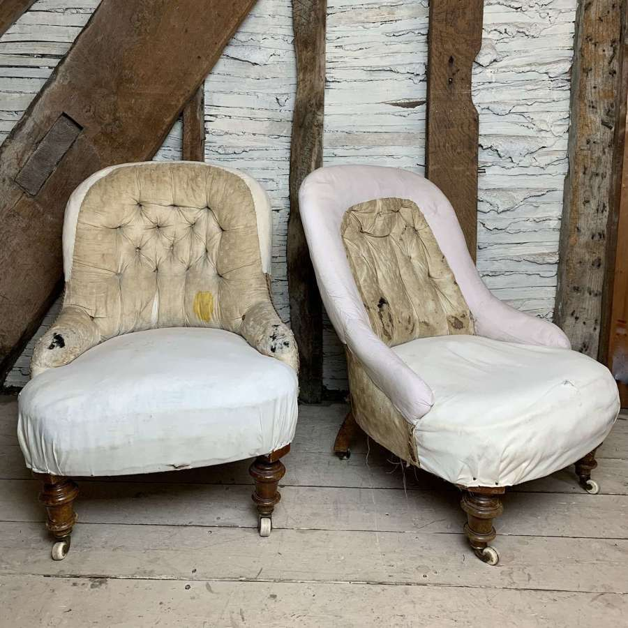 Pair of Victorian Button Back Chairs for Re-upholstery