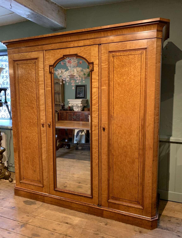Fine Quality Victorian Satin Birch Compactum Wardrobe
