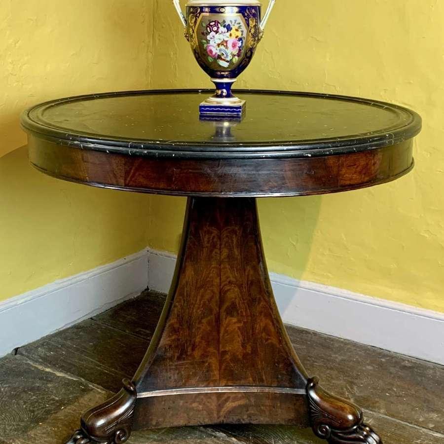 French Charles X Marble Top Mahogany Gueridon / Centre Table