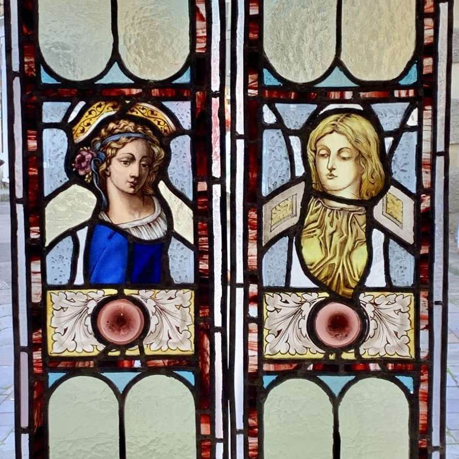 Pair of Victorian Leaded Stained Glass Panels