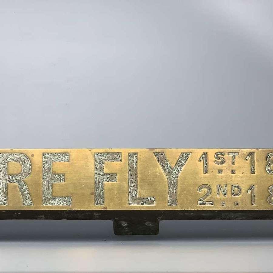Victorian Brass Steam Engine Nameplate FIREFLY