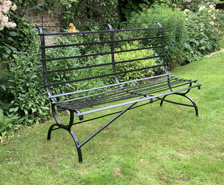Edwardian Wrought Iron Strapwork Garden Bench