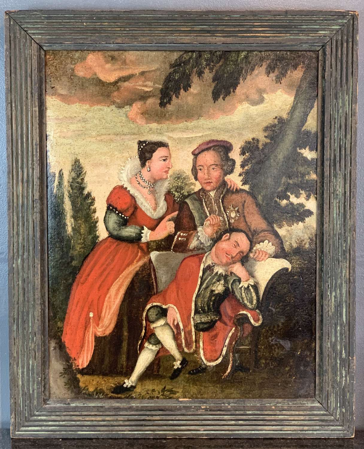 Naive Allegorical Oil on Canvas of Scottish Interest, early 19th C.