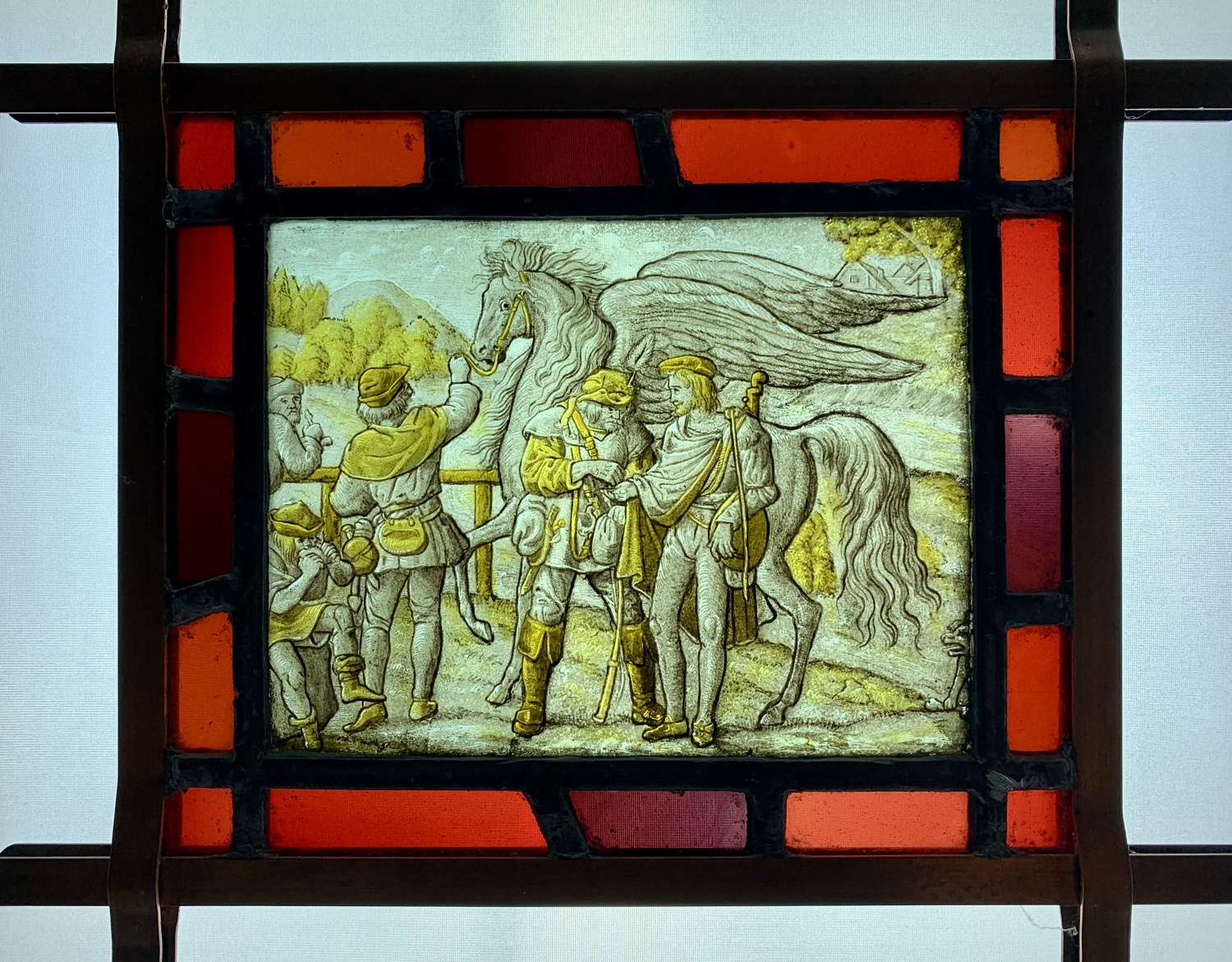 Dutch 18th Century Stained Glass Allegorical Panel of Pegasus