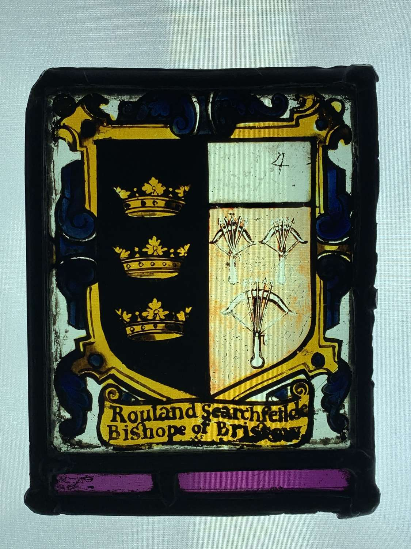 Stained Glass Panel Rouland Serchfeltde Bishop of Bristol 1620