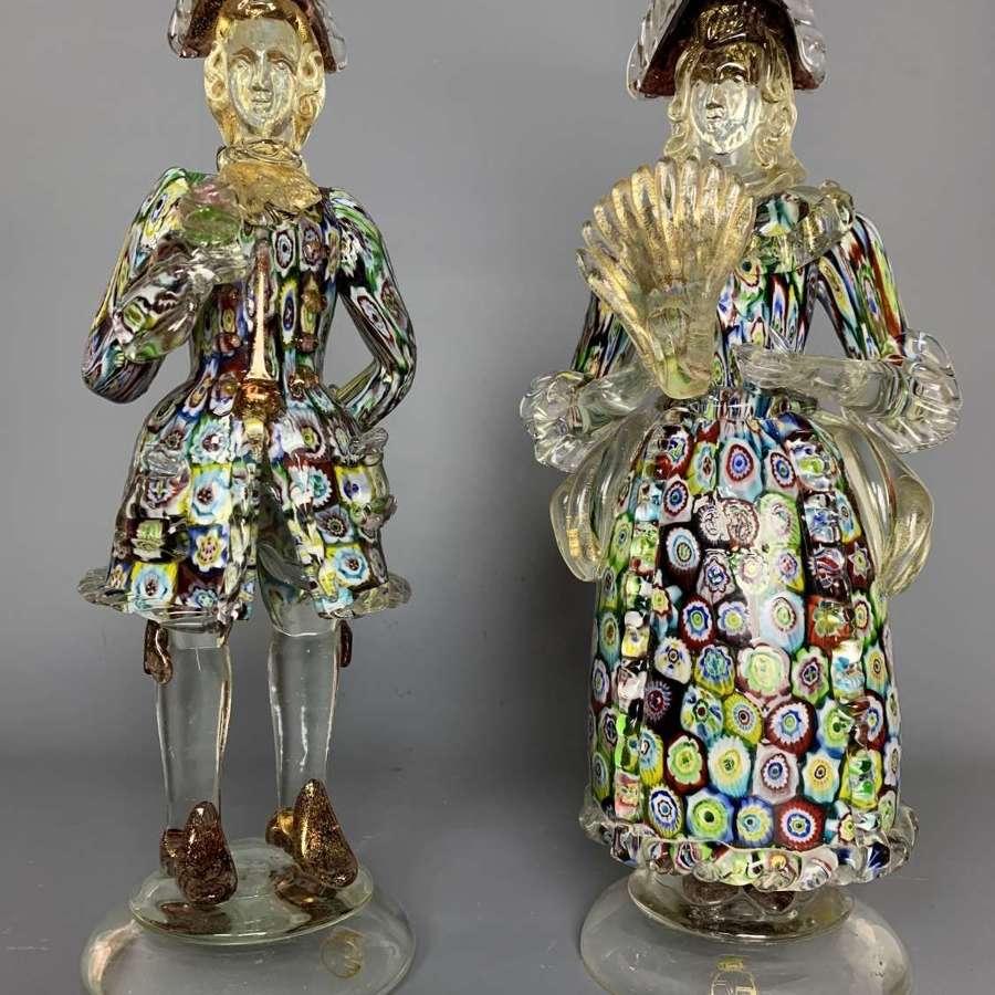 Pair of Vecchia Murano Millefiori Figures