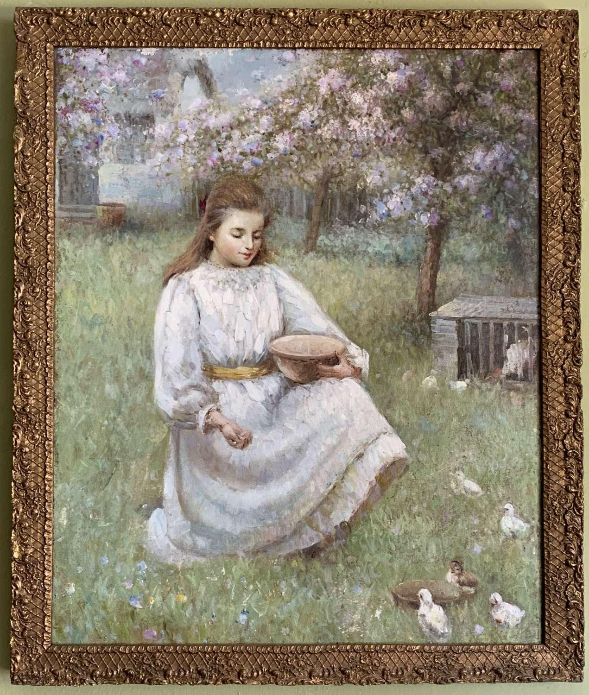 British School, Girl Feeding Ducklings, Oil on Canvas