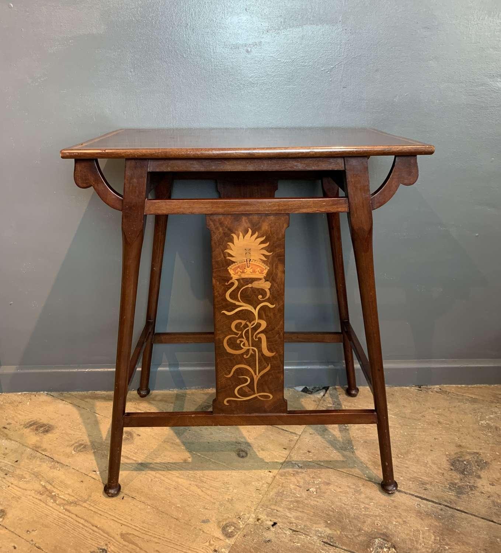 Edward VII Inlaid Mahogany Commemorative Table in Liberty Style