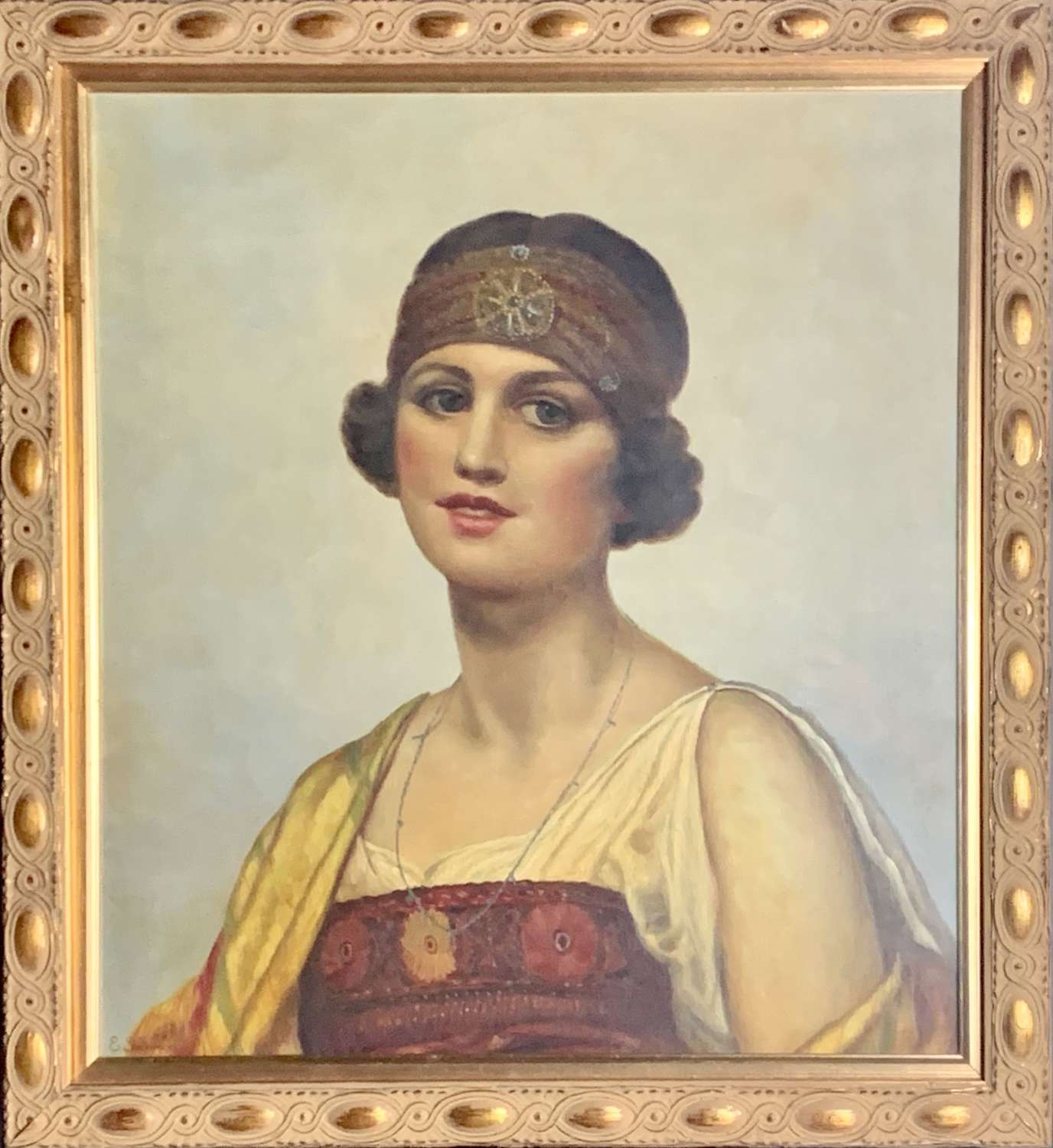 Portrait of a Girl in Eastern Inspired Costume, Oil on Canvas