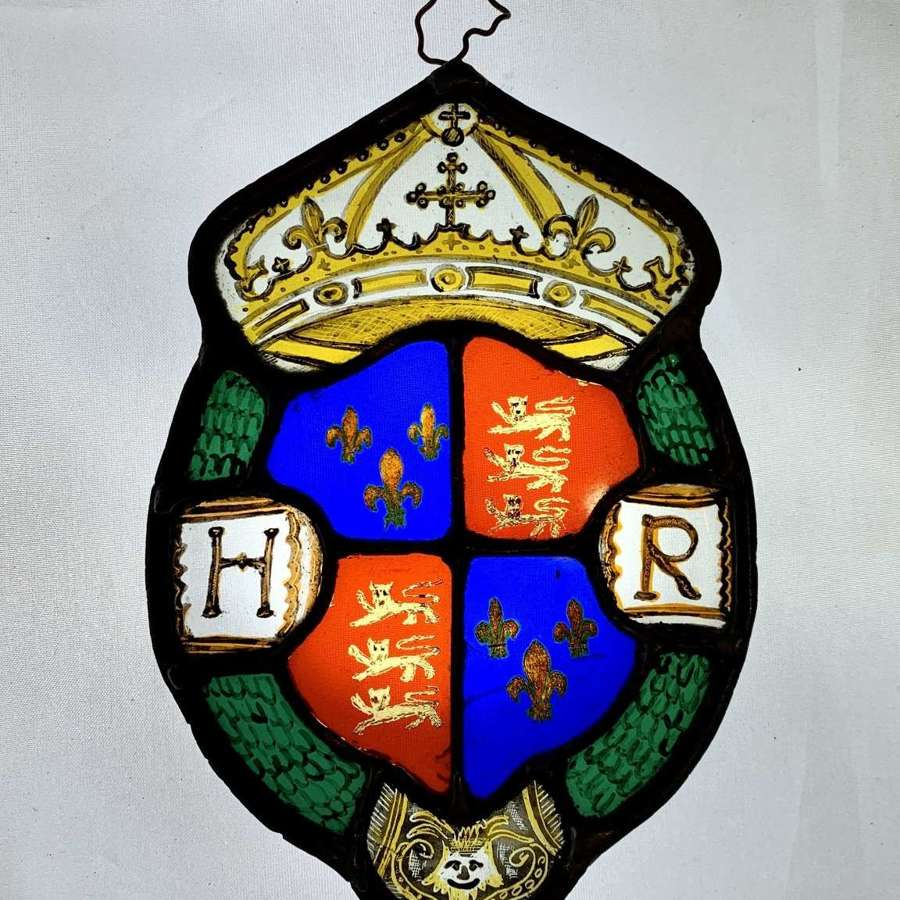 Stained Glass Fragment with Royal Tudor Coat of Arms, Henry VIII