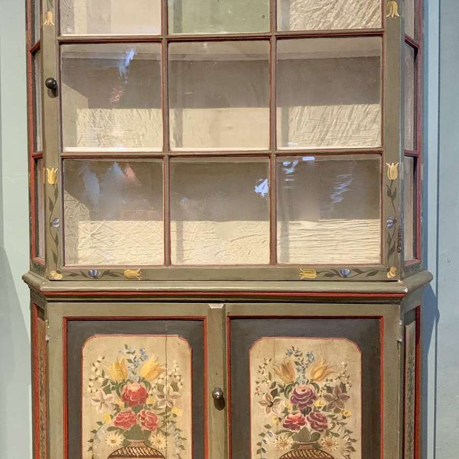 Dutch Floral Painted Display Cabinet