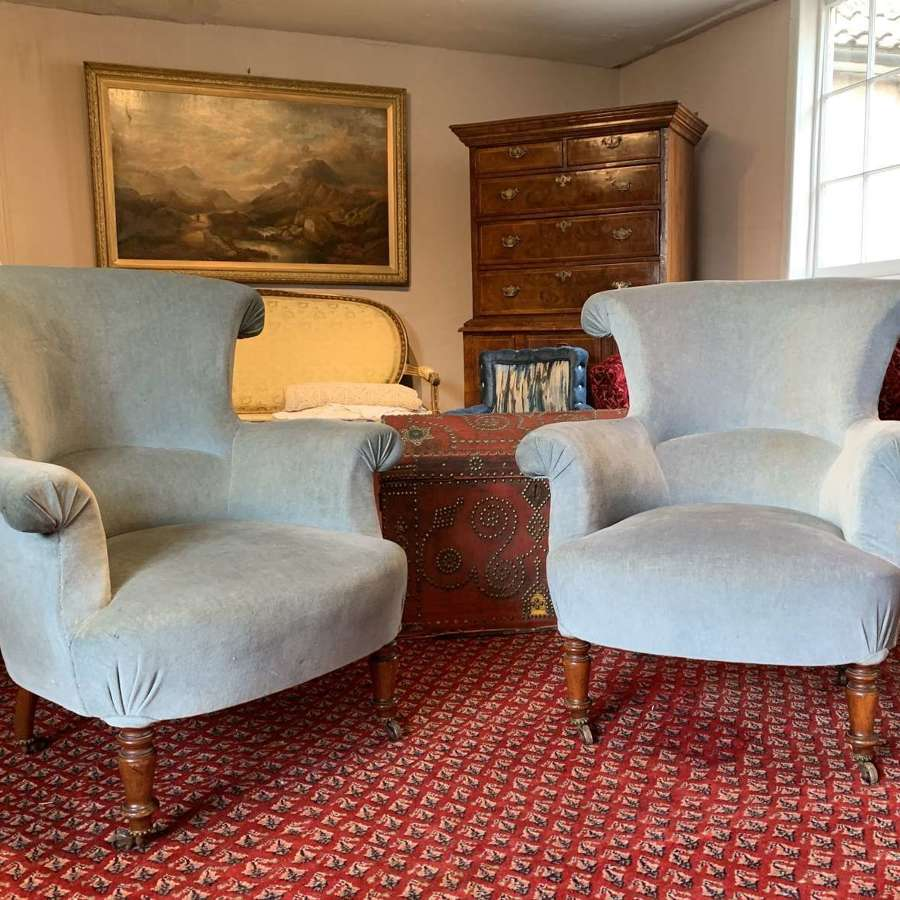 Pair of French Scroll Back Armchairs