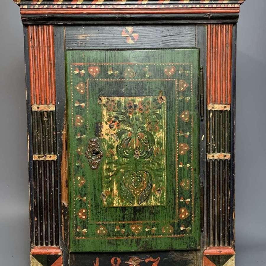 Scandinavian Folk Art Painted Pine Cupboard