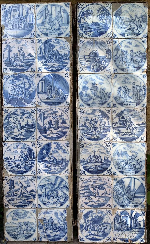 Pair of Delft Blue & White Faience Tile Panels
