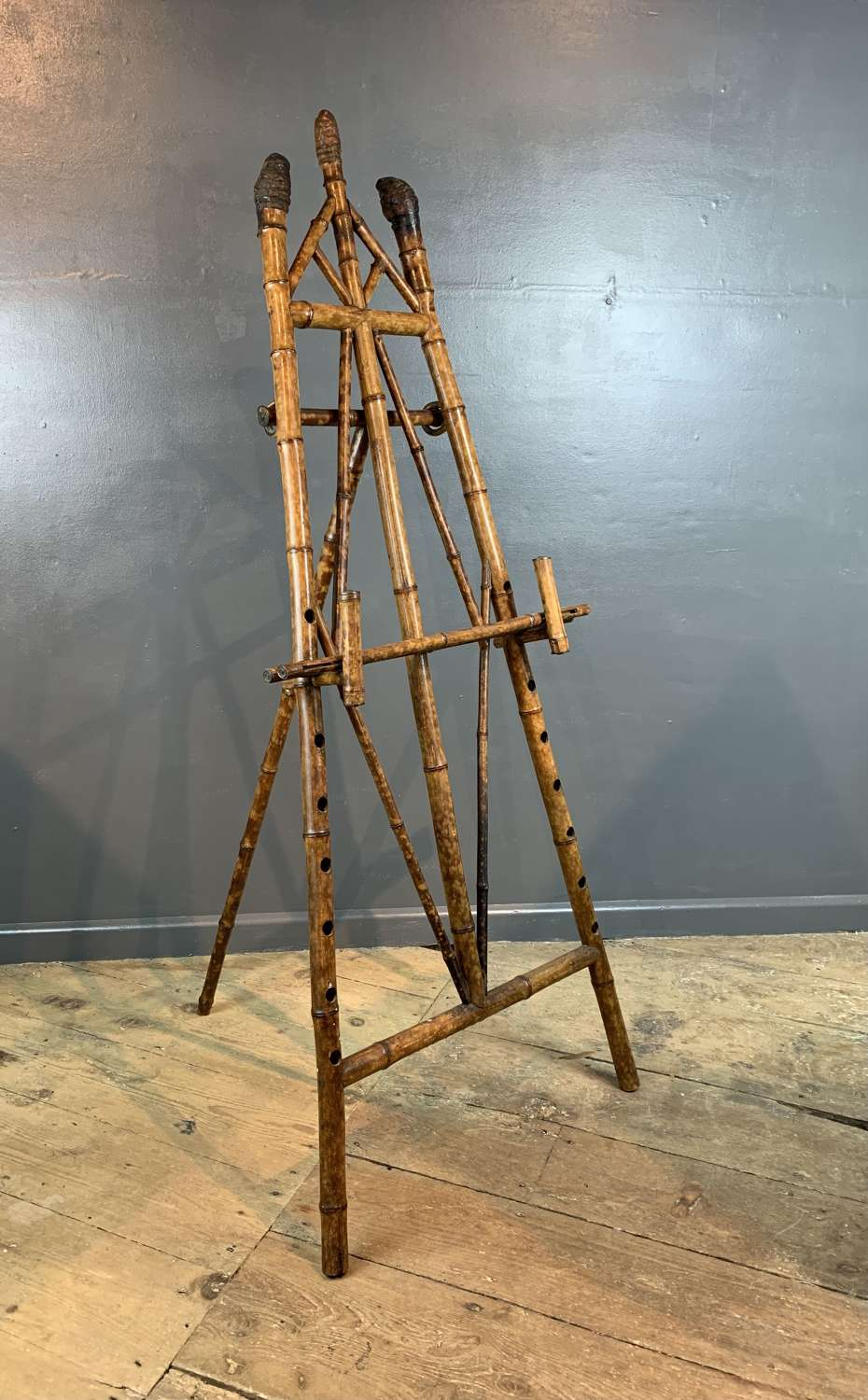 Antique Stained Bamboo Display Easel