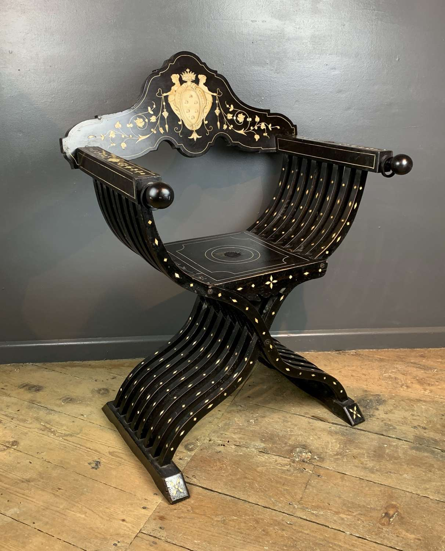 Antique North Italian Ebonised & Inlaid Savonarola Chair