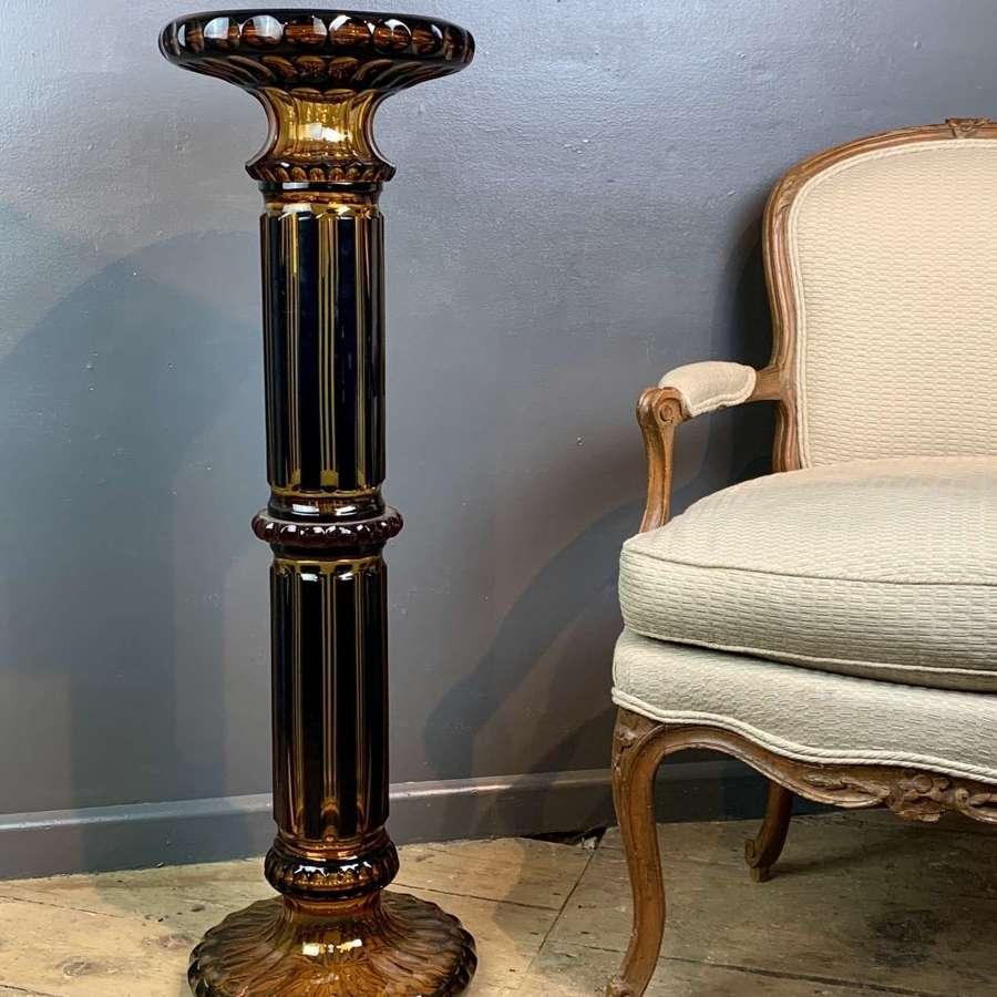 Bohemian Overlay Amber & Cobalt Blue Glass Pedestal