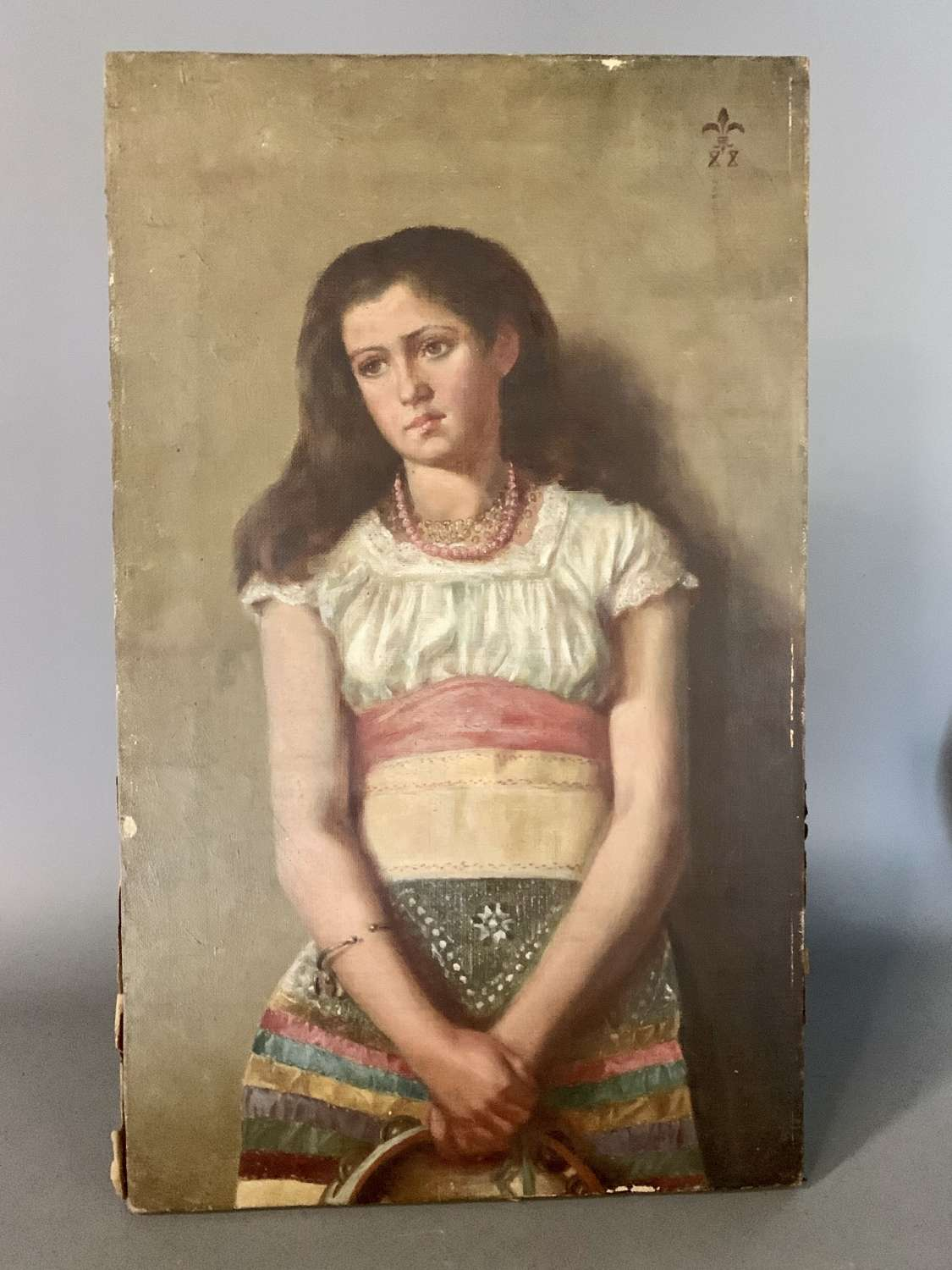 19th Century Oil Portrait of a Gipsy Girl