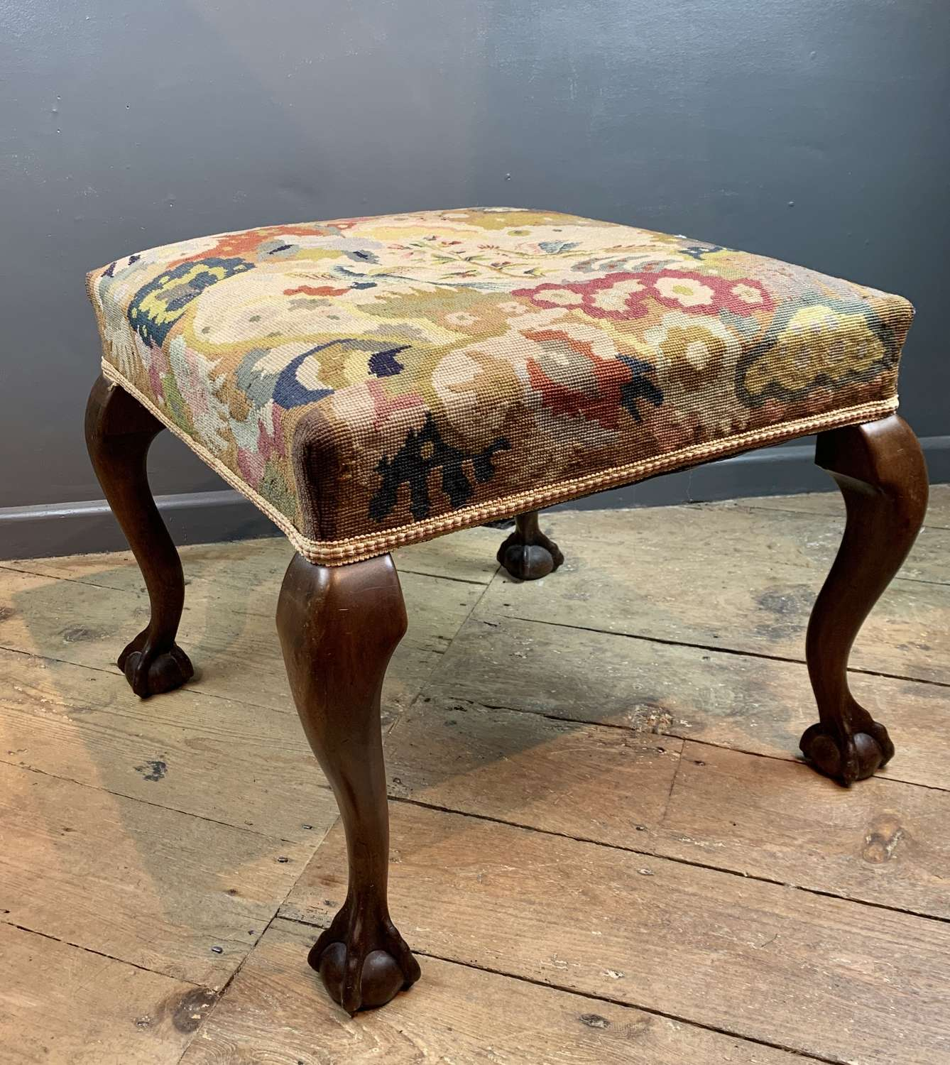 Antique Tapestry Upholstered Mahogany Footstool