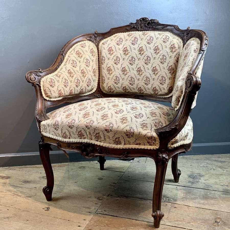 French Louis XV Style Walnut Armchair
