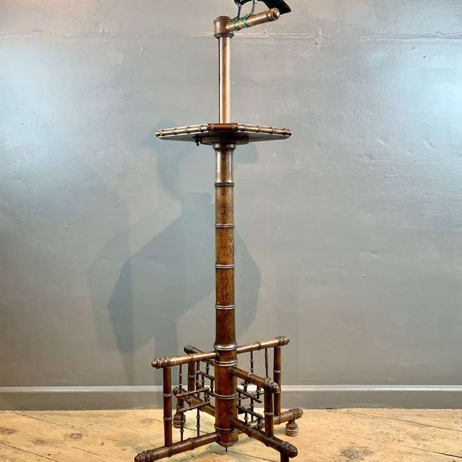Rare Victorian Faux Bamboo Mahogany Parrot / Bird Perch