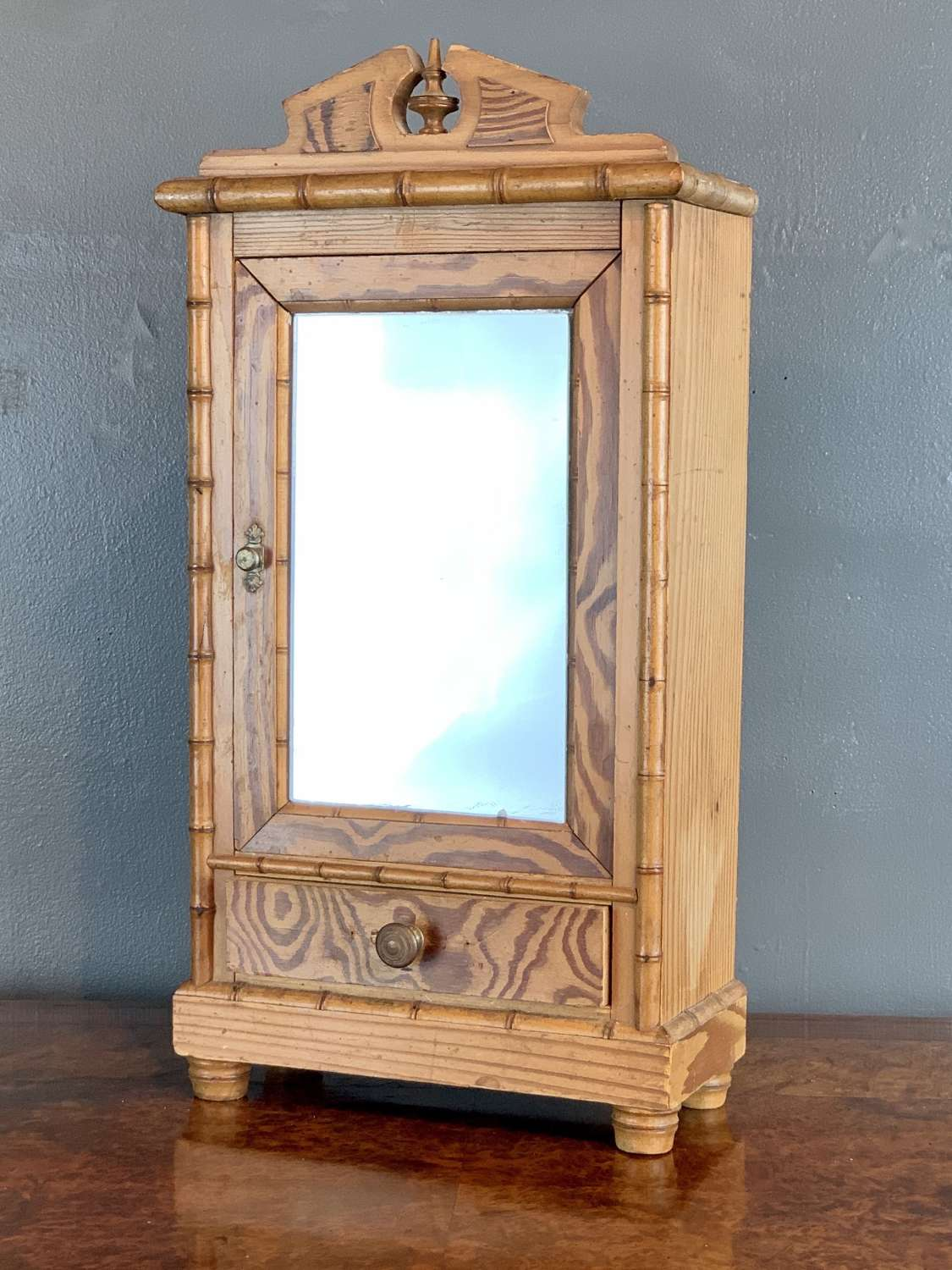 Antique French Faux Bamboo & Pitch Pine Doll's Armoire
