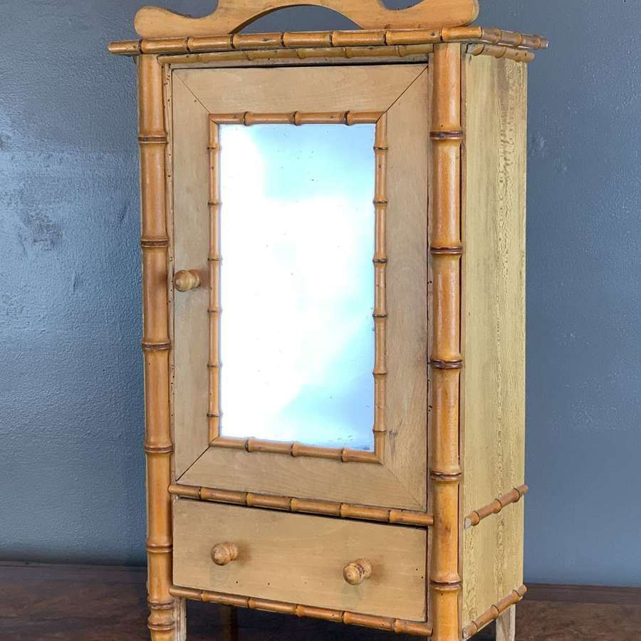 Antique French Pine & Faux Bamboo Doll's Armoire