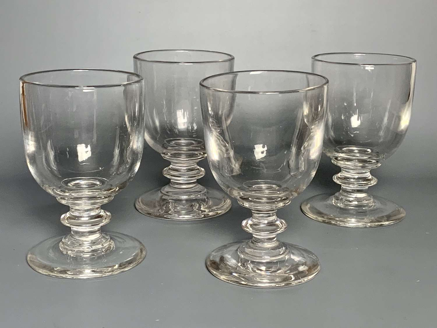 Set of Four Very Large Early 19th Century Wine Glasses